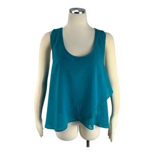 Doublju NWT XXL 2X Blue Tank Top Semi Sheer